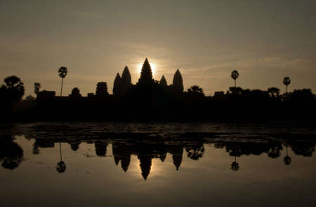 silhouette of angkor wat  temple photo