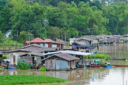 Houseboat in Uthai Thani, Thailand photo