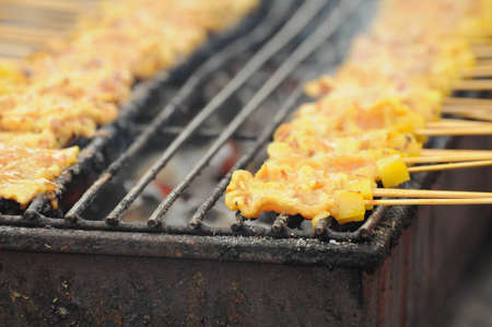 grill pork or thai style barbecue (named Satay in Thai) Stock Photo