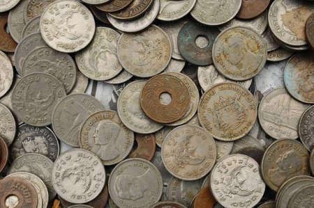 background of Thai Various old coins Stock Photo - 10395261