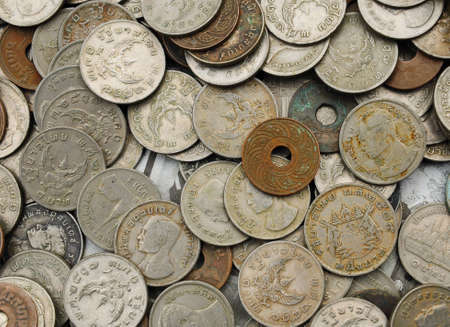 background of Thai Various old coins photo
