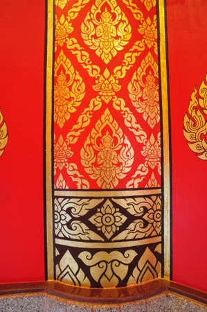 traditional Thai style art painting on temple photo