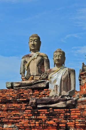 antiquarian: ruins statue buddha at Chaiwatthanaram Temple, Ayutthaya Historical Park, Thailand