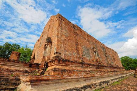 wall of ruins temple at Ayutthaya Historical Park, THailand photo
