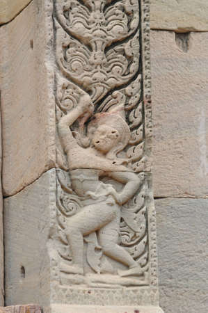 Stone engraving in Pimai ancient city, Thailand photo