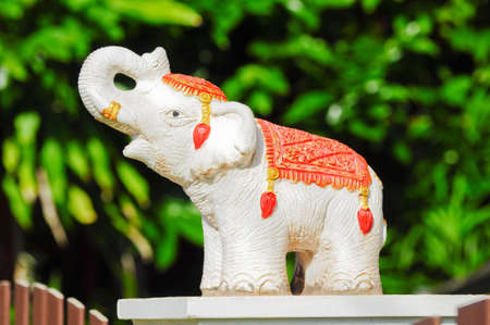 elephant statue,  decorated at fences photo
