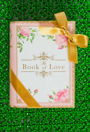 the book of love on green background photo