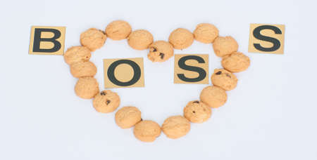 heart shaped cookies for boss on white background photo