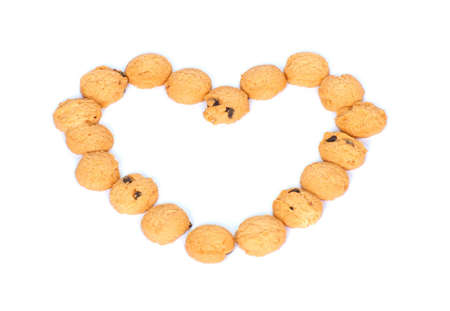 heart shaped cookies isolated on white background photo