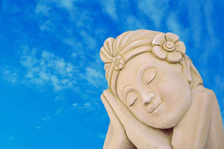 thai traditional statue and blue sky