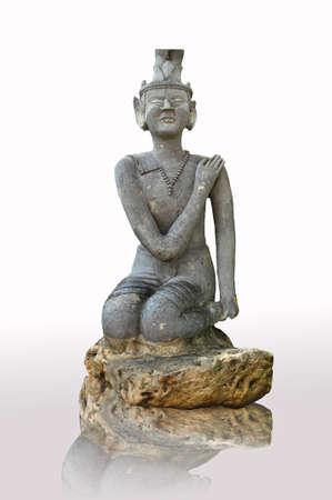 modello di massaggio tailandese su sfondo bianco Archivio Fotografico