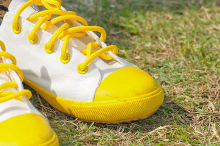 White shoes on the lawn photo