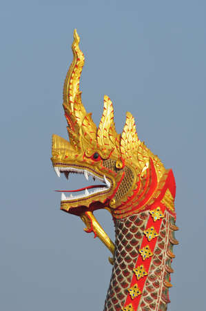 Thai dragon or king of Naga statue photo