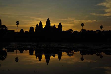 silhouette of angkor wat, Cambodia Stock Photo