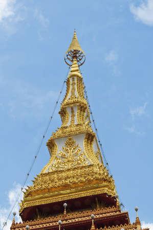 Golden pagoda at the temple, Khonkaen Thailand Stock Photo