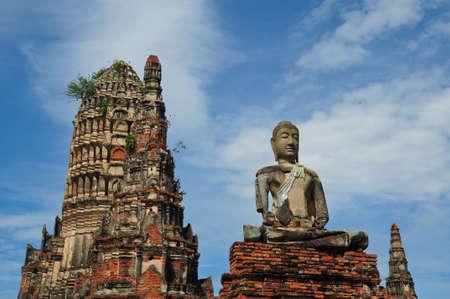 ruins statue buddha at Chaiwatthanaram Temple, Ayutthaya Historical Park, Thailand