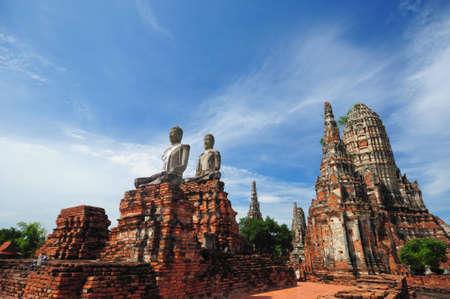 ruins statue buddha at Chaiwatthanaram Temple, Thailand