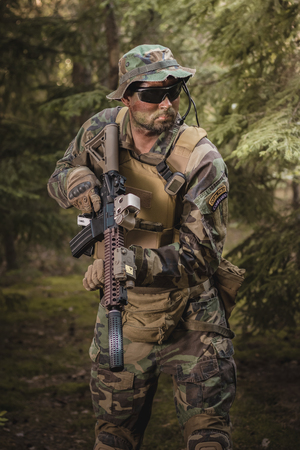 marksman: soldier training in the forest