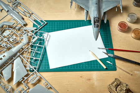 Vue de dessus à l'échelle du modèle en plastique avec accessoires sur coussin vert sur table en bois clair