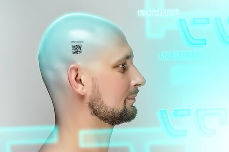 Profile of bald man with QR code on head on gray background in studio.
