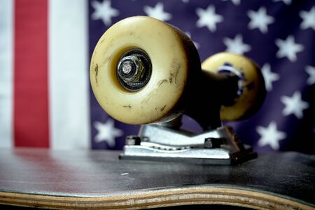 white skateboards wheel on the US flag background Stock Photo