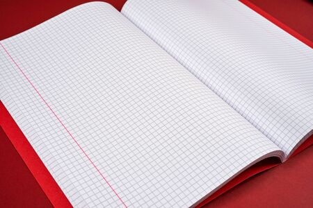 open notebook with checkered pages on a red background Фото со стока
