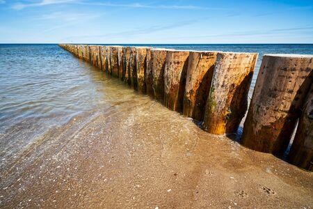 wooden piles overgrown with seaweed in the sea Standard-Bild
