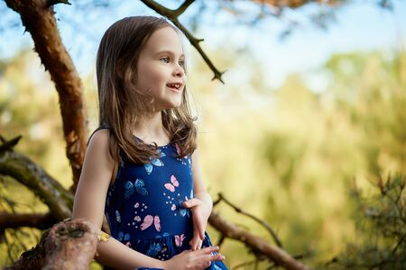 two girls in summer dresses are climbing a tree in the forest Standard-Bild - 149208198