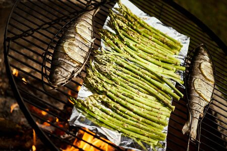trout with spices and green asparagus roast on a grill over a fire