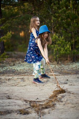 little girls in dresses pull the root on the forest road Standard-Bild