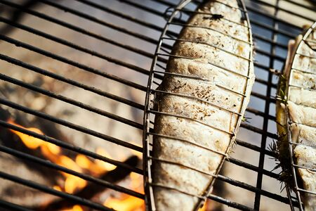 delicious trout with spices roast on a grill over a fire Standard-Bild - 149572345