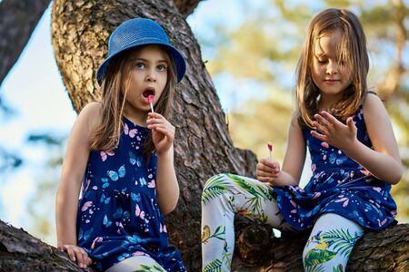 two girls in summer dresses are climbing a tree in the forest Standard-Bild - 149572362