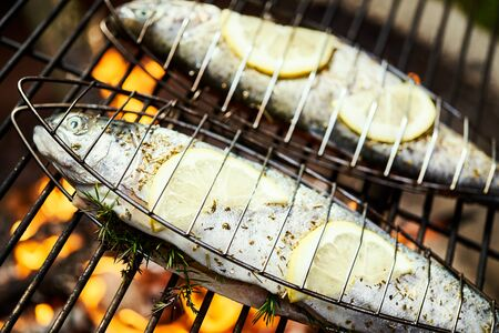 delicious trout with spices roast on a grill over a fire Standard-Bild - 149155172