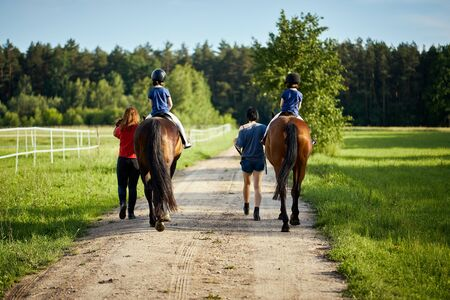 Little girls ride beautiful horses on the road in the forest in summer