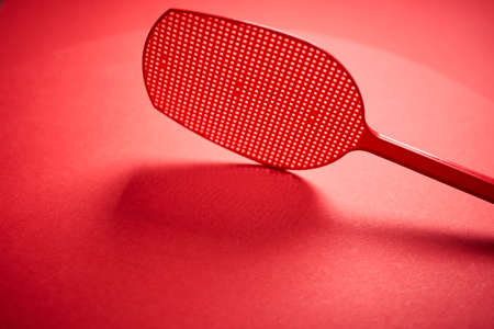 red isolated plastic fly trap on intense colored background Banco de Imagens - 153333378
