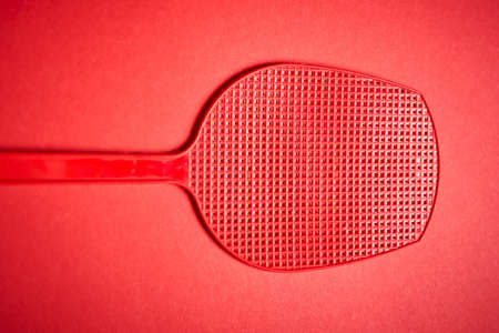 red isolated plastic fly trap on intense colored background