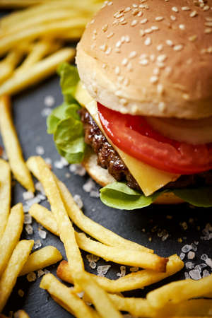 delicious cheeseburger surrounded by french fries on a black table Banco de Imagens - 156049456