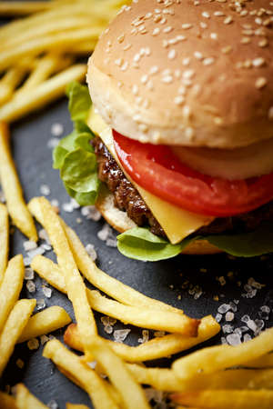 delicious cheeseburger surrounded by french fries on a black table Banco de Imagens - 156511369