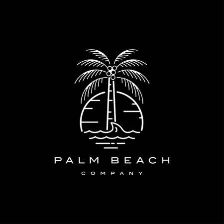 Palma sulla spiaggia con il modello di progettazione del logo dell'illustrazione del tramonto