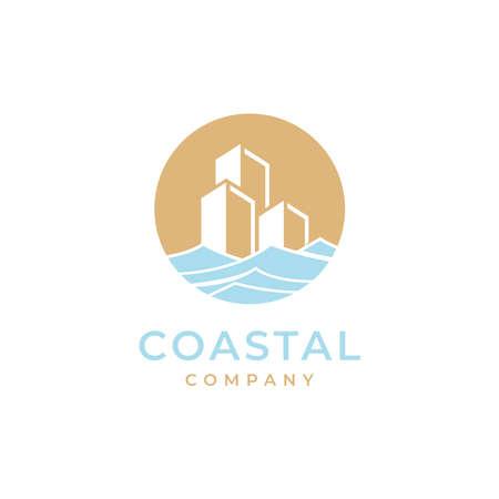 coastal with building logo design