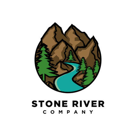 mountain with river illustration logo design template