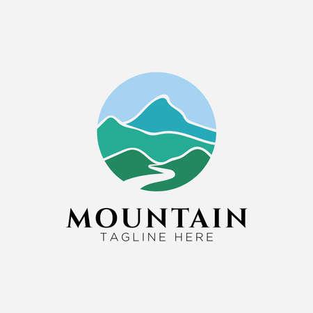 Mountain with river logo design Logos