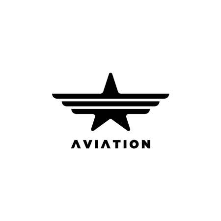 Star with wings illustration symbol.Aviation logo with star symbol 向量圖像