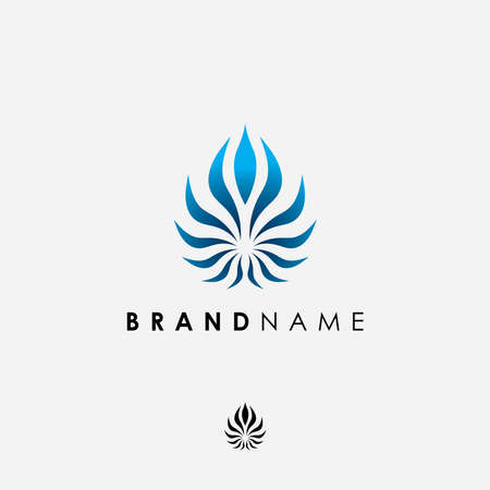 Abstract elegant symbol logo design inspiration.Monogram leaf icon vector