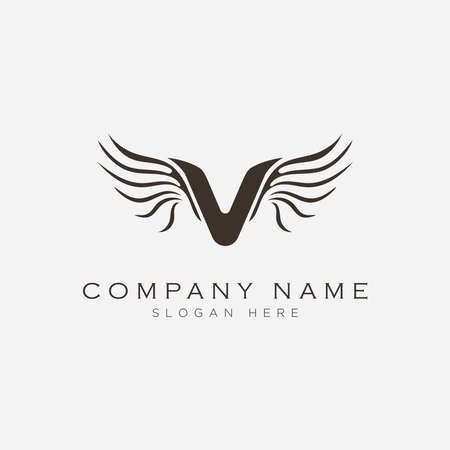 Letter V with wings symbol logo design.Vector