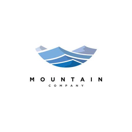 Blue mountain logo design vector template.Creative blue mountain illustration