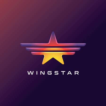 colorful star with wings logo design vector for aviation company Ilustrace