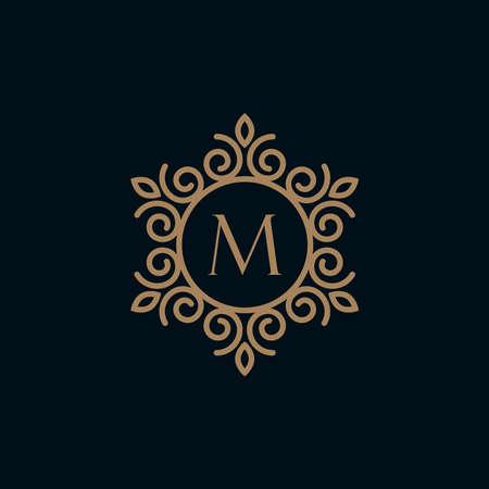 elegant monogram letter M logo design template.Creative floral letter M logo inspiration Logo