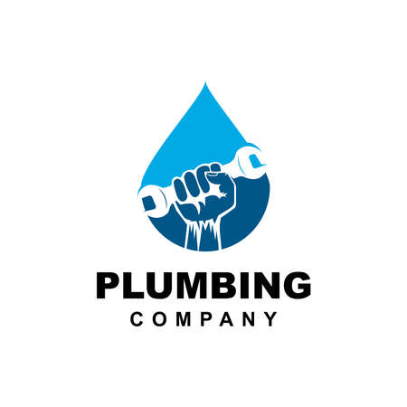 Hand and wrench logo design vector template.Plumbing logo company inspiration