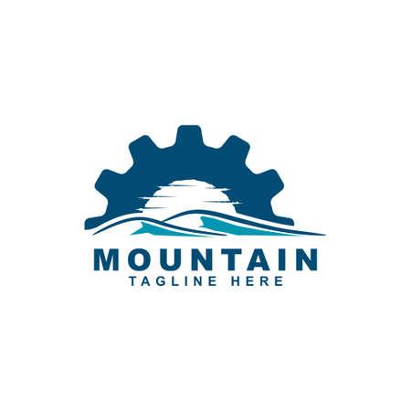 mountain with gear symbol logo design vector template